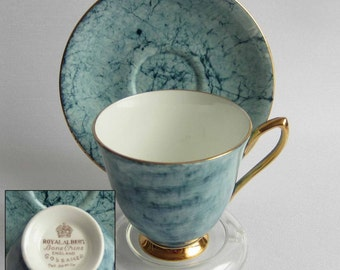 Royal Albert GOSSAMER BLUE Bone China Tea Cup and Saucer - Made in England