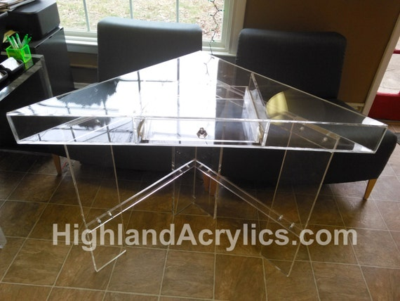 corner desk with drawer in clear lucite by highlandacrylics