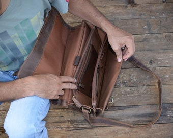 15 Inch Leather Satchel / Leather Laptop Bag / Vintage Leather Briefcase /  Rustic Briefcase / Mens Briefcase Genuine Real Leather