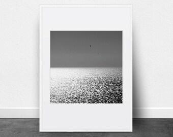 Seascape Photography, Printable Art, Black and White Photography, Glistening Water, Mediterranean, Coast, Ocean, Sea, Printable Wall Art,