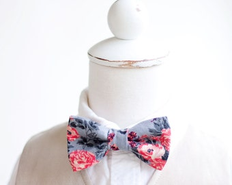 Bow Tie, Bow Ties, Boys Bow Ties, Baby Bow Ties, Bowtie, Bowties, Ring Bearer, Bow ties For Boys, Floral Bow Tie - Grey And Coral Floral