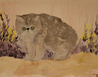 Cat original water color painting