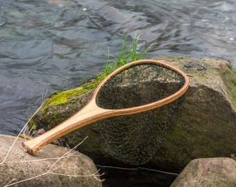 Personalized handmade wooden landing net, fly fishing net, trout net, oak and mahogany net