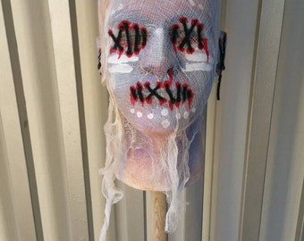 Original Hand painted carved styrofoam head scary halloween decoration unique