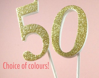 50th anniversary/birthday number cake topper - glitter 50 number birthday cake - 50th wedding anniversary - golden wedding party decorations