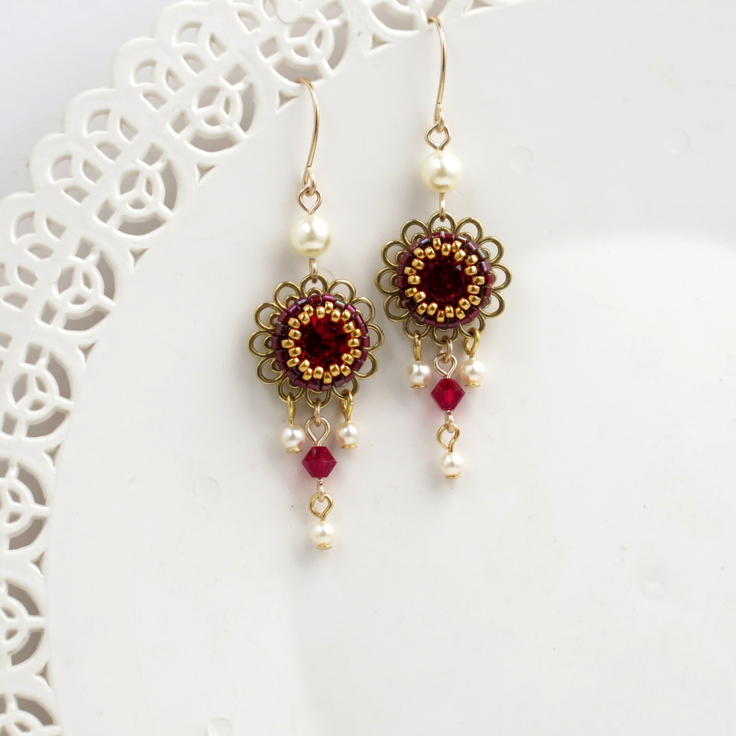 Red Chandelier Earrings: Red Chandelier Earrings Vintage Style Earrings Gift For