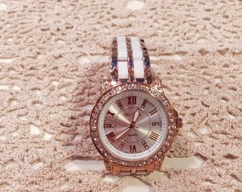 Gold & White Bling Watch