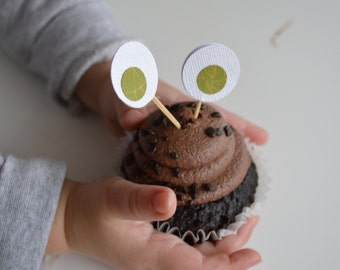 Monster Eyes Cupcake Toppers - Halloween Cupcake Toppers - Set of 24