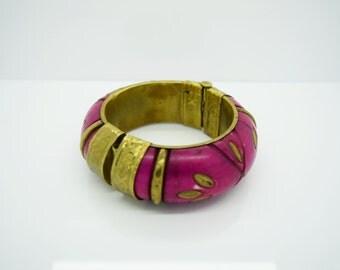 Vintage Bracelet Fuschia Bracelet Fashion Jewelry Brass Jewelry