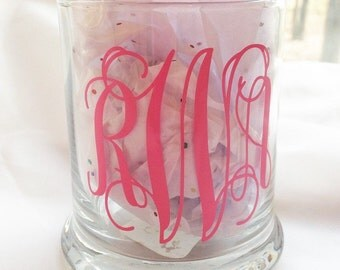 monogrammed candle holder, candle holder, glass candle holder, etched glass, etched candle holder, custom candle holder, custom glassware