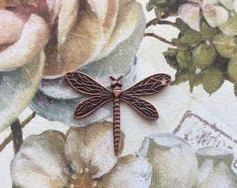 Antique copper brass dragonfly pendant 2 pc