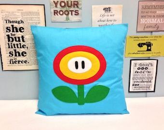 fire flower blue super mario bros retro cushion pillow cover felt bedroom felt applique