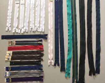 24 new assorted zippers - different colours & sizes    **free postage in Australia**