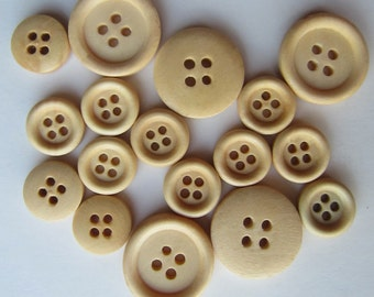 100pcs 15-25mm Round Wood Buttons 4 Holes Wood Sewing Buttons Wood Button NK0076