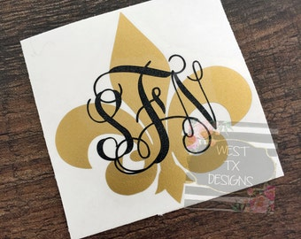 Fleur de Lis | Fleur de Lis Decal | Fleur de Lis Monogram | Monogrammed Decal | Louisiana Decal | Saints