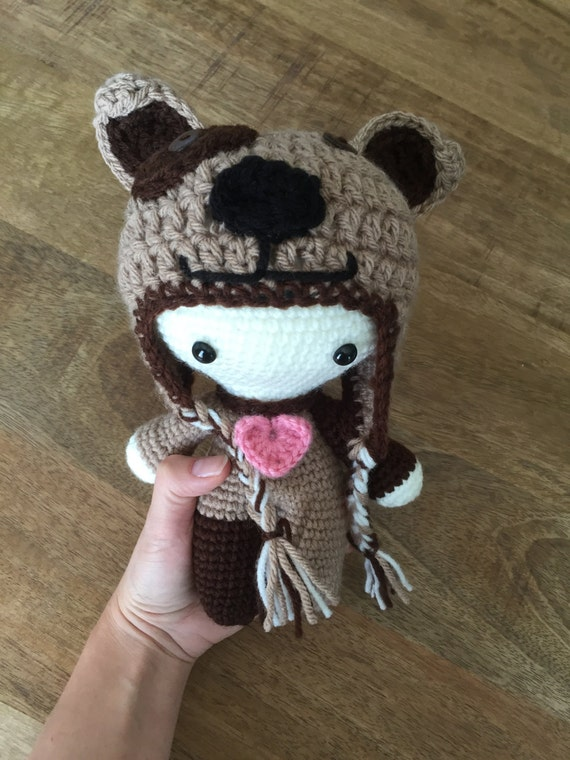 crochet doll with puppy hat big head crochet doll with