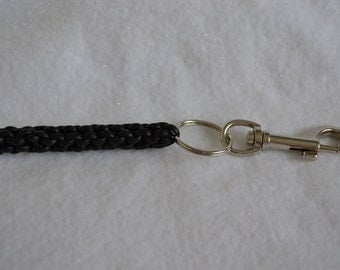 Hand-Woven  Black Leather Trigger-Snap Split-Key Ring