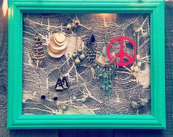 White and Teal Lace Earring Frame