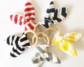 Crinkle Bunny Ear Teether // Natural Wooden Teething Ring // Cloth Baby Rattle Toy // Chevron // Stripes Striped