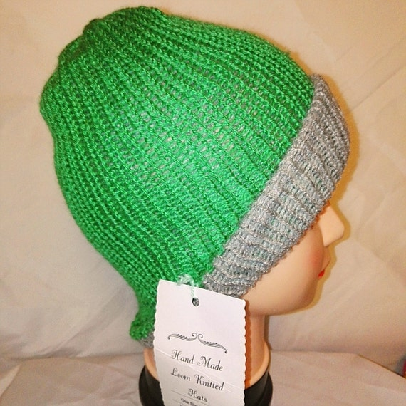 RETRO unique grey and green colour mix Handmade beanie hat double knit extra thick ski snowboard garden one size unisex wool #retro #gift