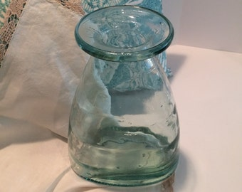 Vintage aqua glass vessel