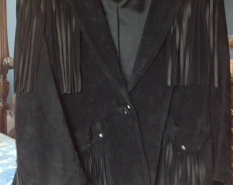 Fringed Black Suede Jacket