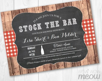 Stock The Bar Invitation Engagement Invite Couples Shower Party INSTANT DOWNLOAD Rustic Red Wood Check Blue Personalize Editable Printable