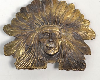 Vintage Solid Brass Native American Indian Head With Headdress #4010 Belt Buckle