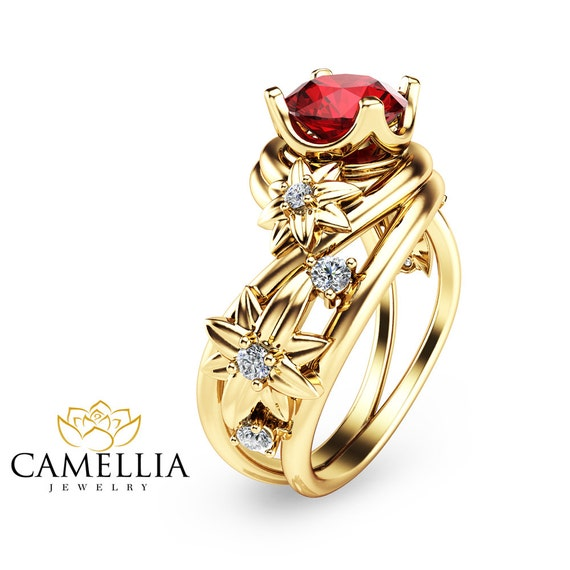 unique ruby engagement ring 14k yellow gold by camelliajewelry