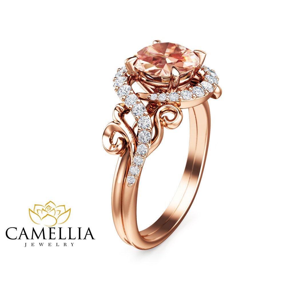 morganite engagement ring 14k rose gold morganite ring nature. Black Bedroom Furniture Sets. Home Design Ideas