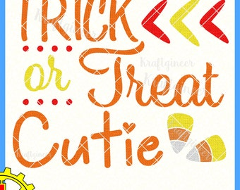 Trick or Treat Cutie Candy Corn SVG DXF cut file for Cricut Silhouette Scan N Cut Commercial Use