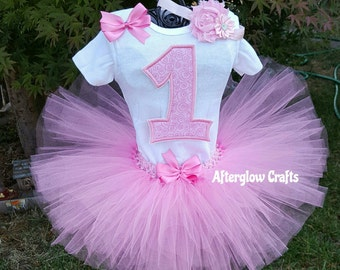 First Birthday Pink Tutu Set , Pink Tutu , Pink Birthday Tutu , 1st Birthday Pink Tutu , One Birthday Tutu Set , Pink One Birthday Tutu Set
