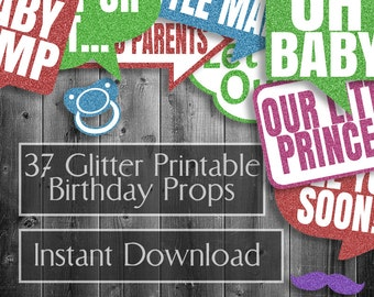 37 Baby Shower Printable Props, DIY Photobooth downloadables, baby shower, purple new baby printables, ideas for party, colorful photo booth
