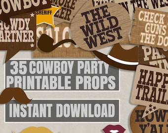 35 Old West party printables photo booth props, cowboy party, photobooth props for western themed party, old west theme, cowboy prop booth