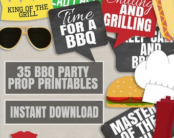 35 BBQ Party Prop Printables, Barbeque photo props, BBQ theme party props, summer party photobooth, bbq party decor instant download