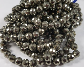 6 - 6.5 mm , Natural Pyrite Round , 10 inches