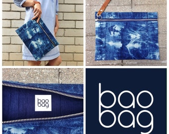 BaoBag Denim Batik Clutch
