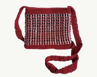 Dark red soda tab purse, burgundy crochet bag, maroon pop tab purse, recycled purse