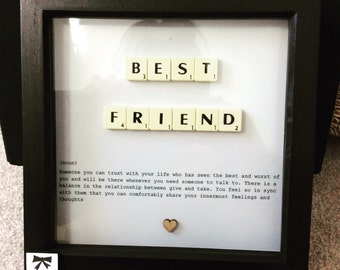 best friend scrabble art frame gift