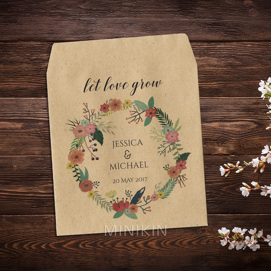 Wedding Seed Packets Seed Packet Wedding Favors Let Love
