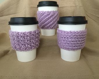 Purple Handmade Crochet Coffee Cup Cozy Set of Three