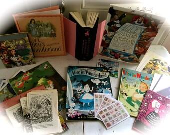 50 Piece Vintage Alice in Wonderland Ephemera/Collage/Art Journaling/Papercraft Kit