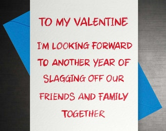 Funny Valentines 'Slag-off' Card