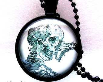Necklace skeleton necklace skeleton Gothic cabochon necklace