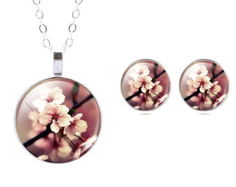 Jewellery set necklace earrings cabochon cherry blossom glass pendant