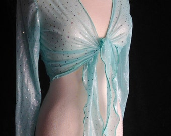 Light Blue Mesh Sparkle Tie Top Wrap Top New L XL