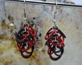 Red and Black Enameled Copper Chainmaille Earrings