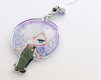 Decim - Death Parade Hand-Drawn Double Sided Front & Back Anime Acrylic Charm with Phone Strap