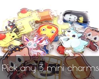 """Pick ANY THREE 1"""" Mini Acrylic Charms"""