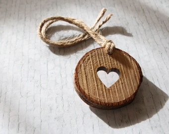 10 x wood slices. Wood love hearts. Wedding favors. UK. Gift tags. Love